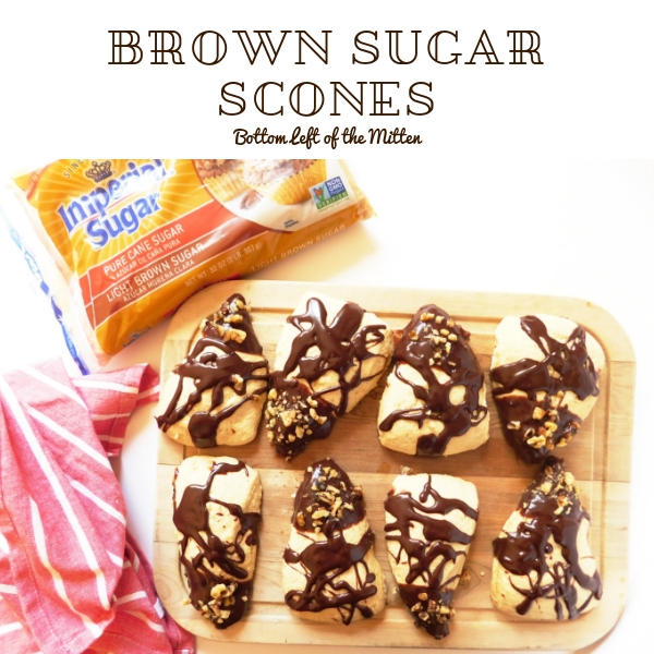 Brown Sugar Scones with Chocolate Drizzle on a plate ready to eat!