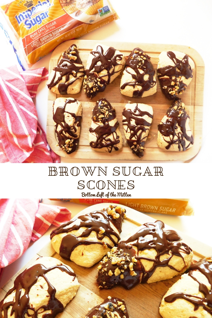 These Brown Sugar Scones with Chocolate Drizzle are so soft and fluffy. They make the perfect breakfast for an afternoon snack. #scones #brownsugar #breakfast #snack #teatime #chocolate #walnuts #sconerecipe