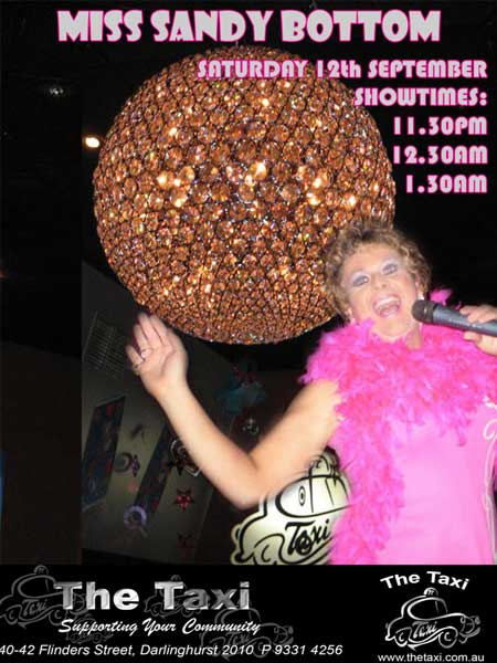 Sandy Live at Taxi Club This Saturday Night