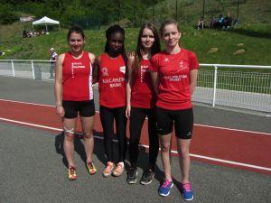 Nos relayeuses du 4*100m Margaux, Ophélie, Gaëlle et Elline