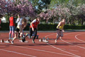 Fannie au départ du 100m