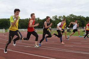 Corentin pendant son 100m