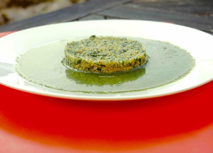 Quinoa pilaf au pesto d'orties sur son velouté d'orties