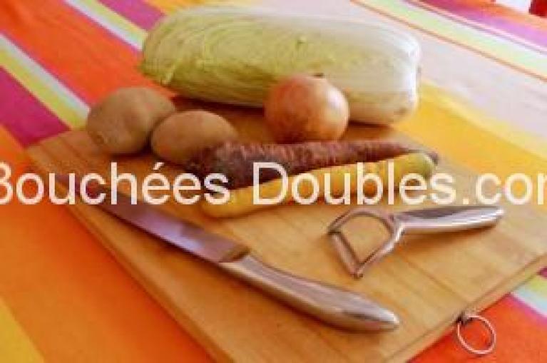 sauté de chou chinois et trio de légumes