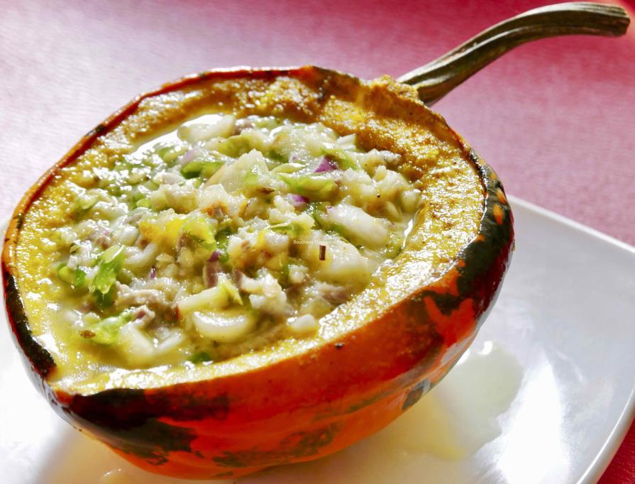 Recette acido-basique - courge farcie au poisson et légumes marinés de saisonRecette acido-basique - courge farcie au poisson et légumes marinés de saison