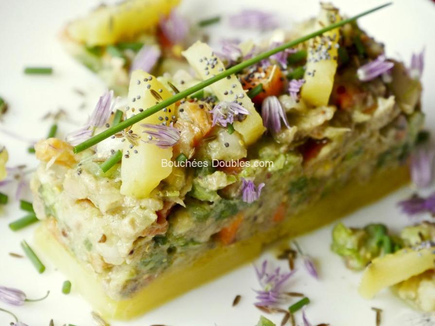 légumes cuits et crus, maquereau mariné et fumé, 2 options de présentation