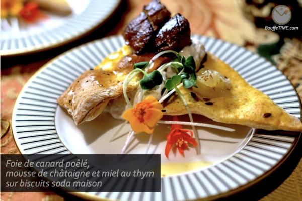 Foie de canard poêlé, mousse de châtaigne et miel au thym sur biscuits soda maison | BouffeTIME!
