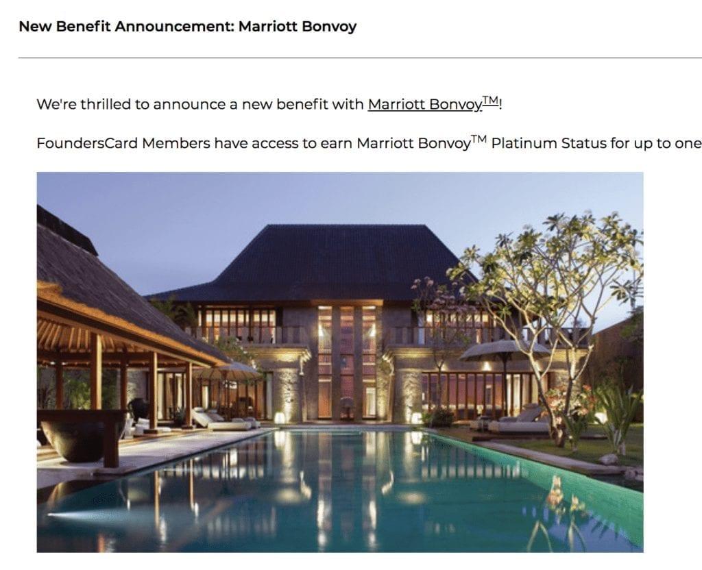 Founderscard Offers Marriott Platinum Status Challenge