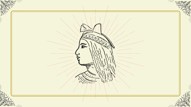 Beautiful Egyptian queen with long hair and a crown