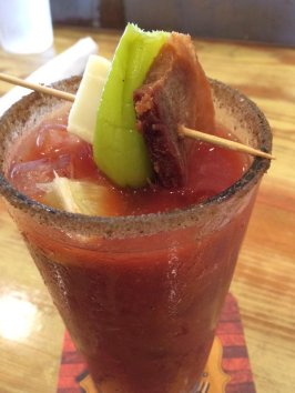 Pork belly & pickled pepper garnished Bloody Mary @ Truck Farm Tavern, St. Rose, LA
