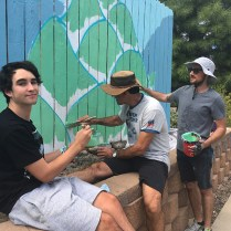 Sam Cikauskas's mural in progress for Creative Neighborhoods