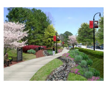 Rendering of a proposed greenway for flood conveyance, from the draft area plan.