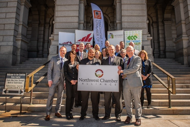 Northwest Chamber Alliance representatives on the steps of the Colorado State Capitol