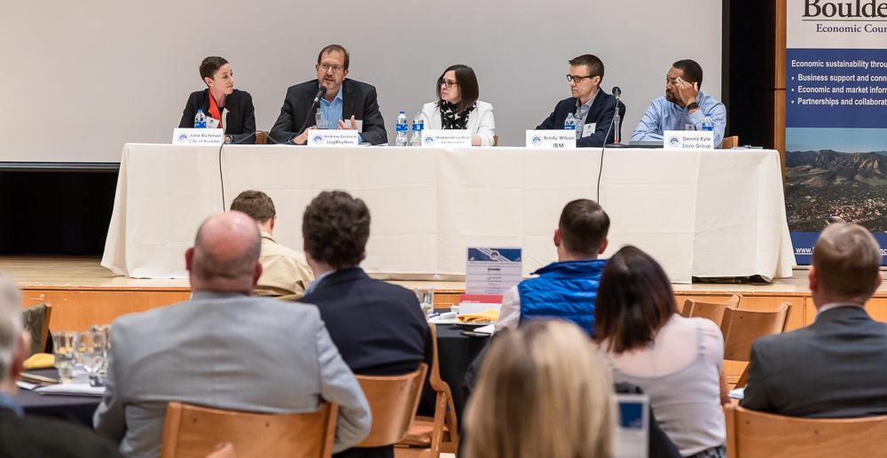 Opening plenary panel with Julia Richman (City of Boulder), Andrew Grolnick (LogRhythm), Makenzie Lystrup (Ball Aerospace), Brody Wilson (IBM) and Dennis Kyle (Zayo)