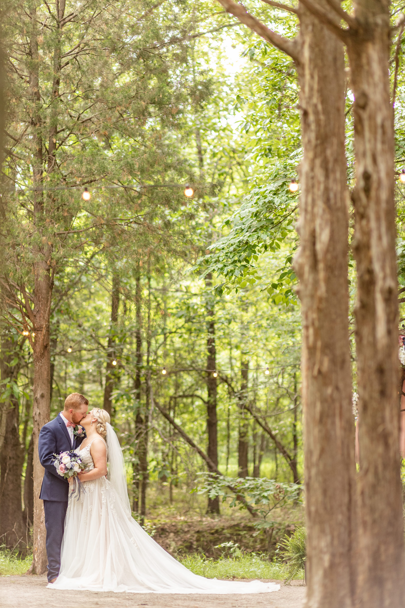wooded wedding, bride and groom
