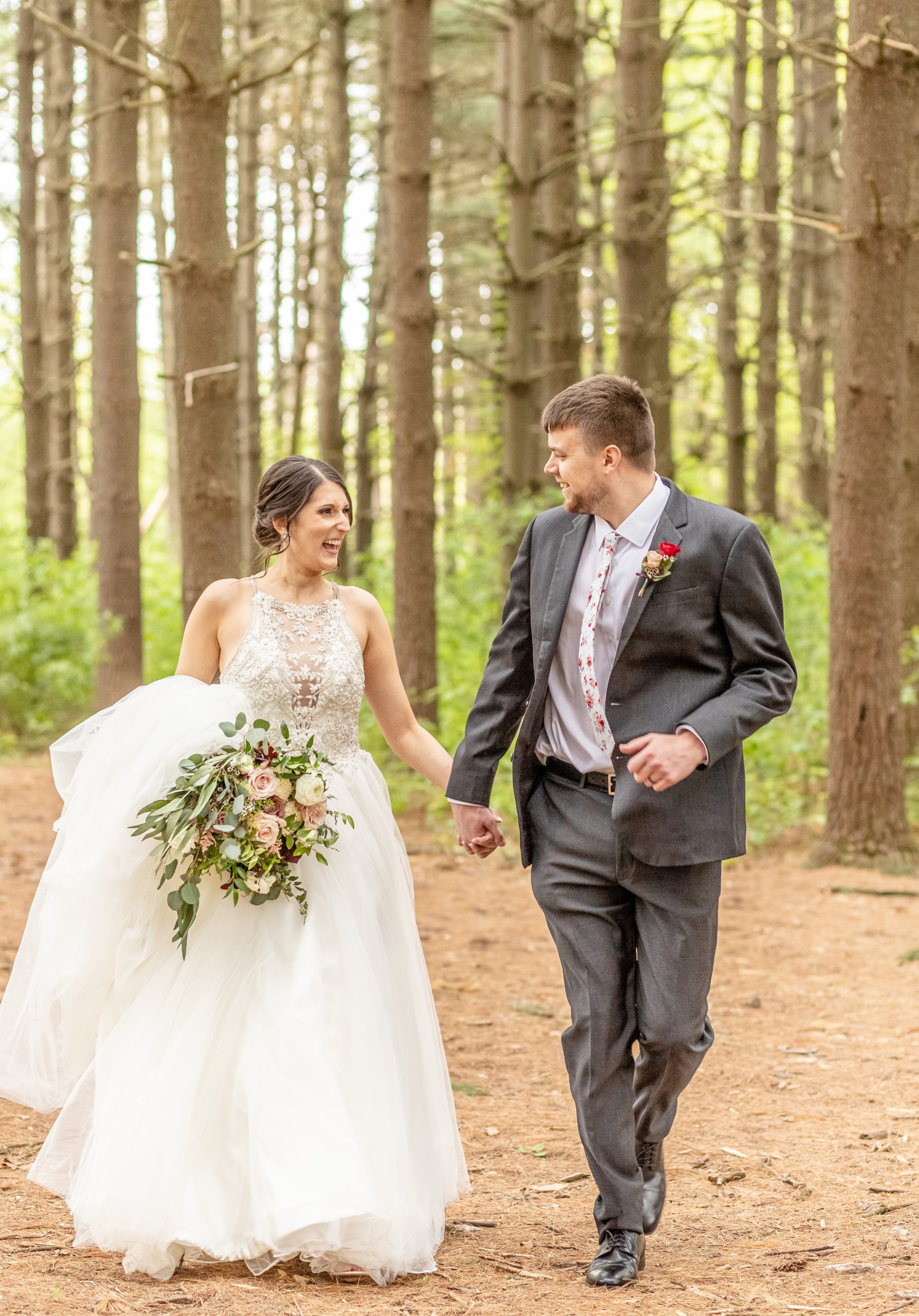 Bride and groom, hand in hand, pine trees, southern illinois photographer
