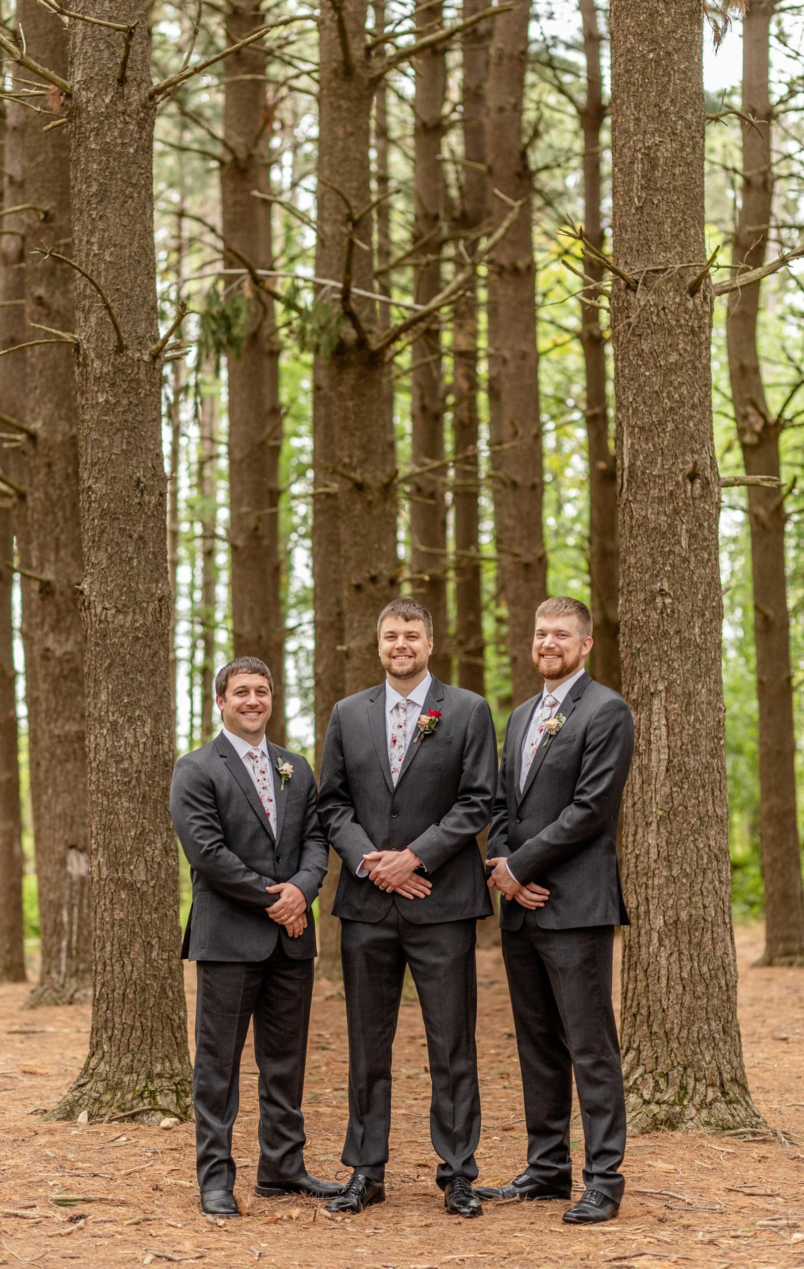 groomsman, groom, pine trees, southern illinois photographer