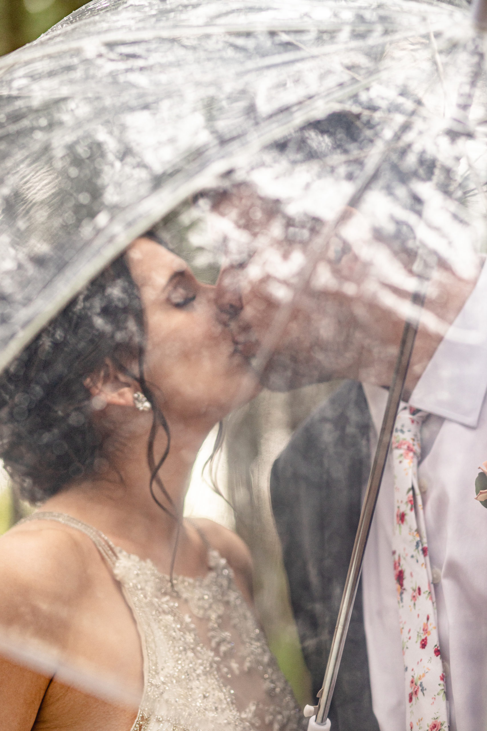 southern illinois photography, boulder creek photography, bride and groom, kissing, see-through umbrella
