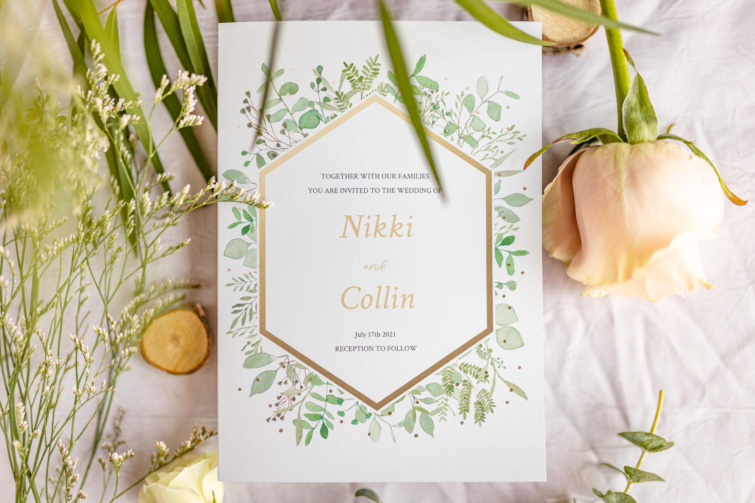 wedding photography, wedding invitation, greenery, wedding details, garden grove, carbondale, southern Illinois wedding