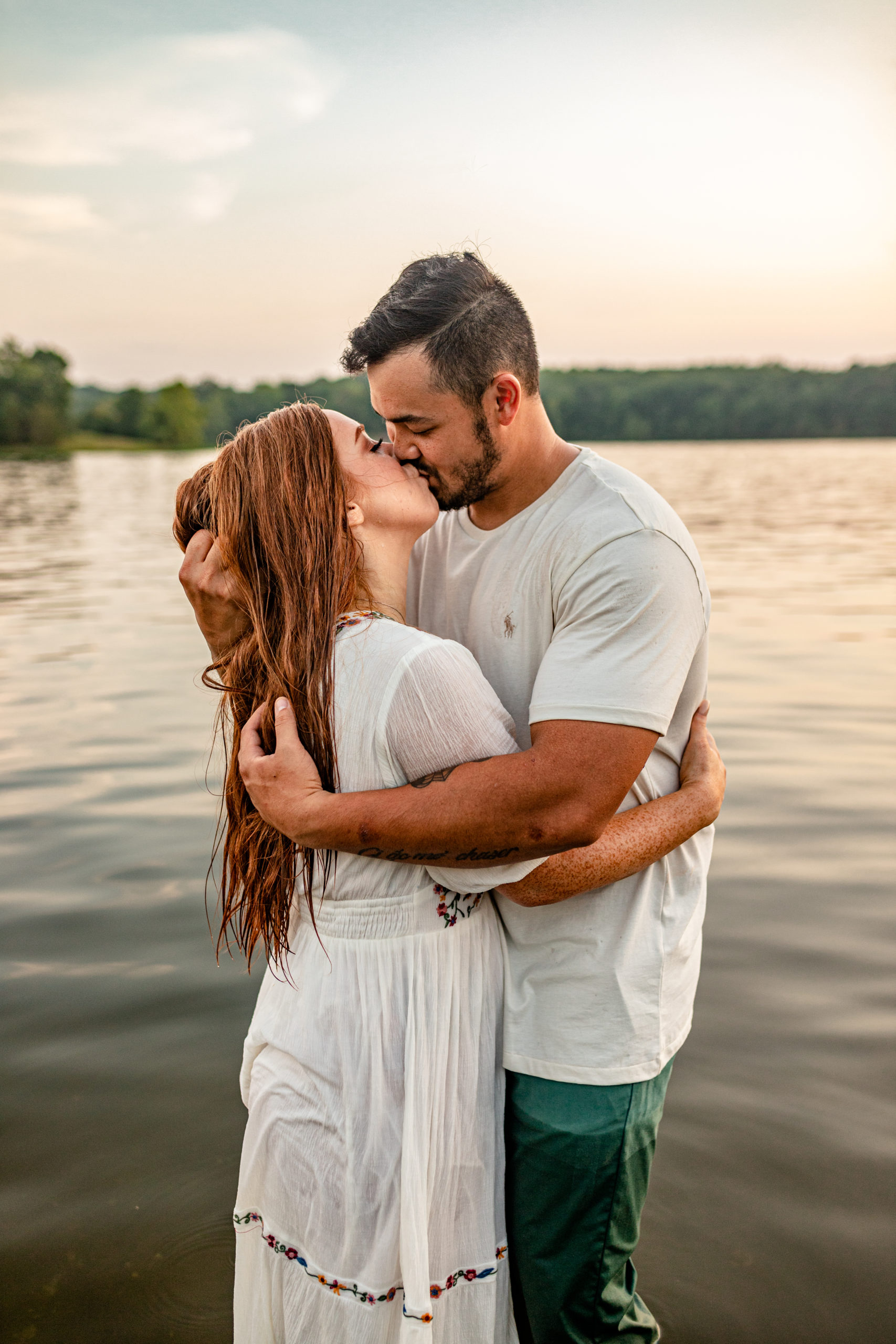 hot lakeside engagement session, romantic lake session, sunset lake, couple in water, Boulder Creek Photography