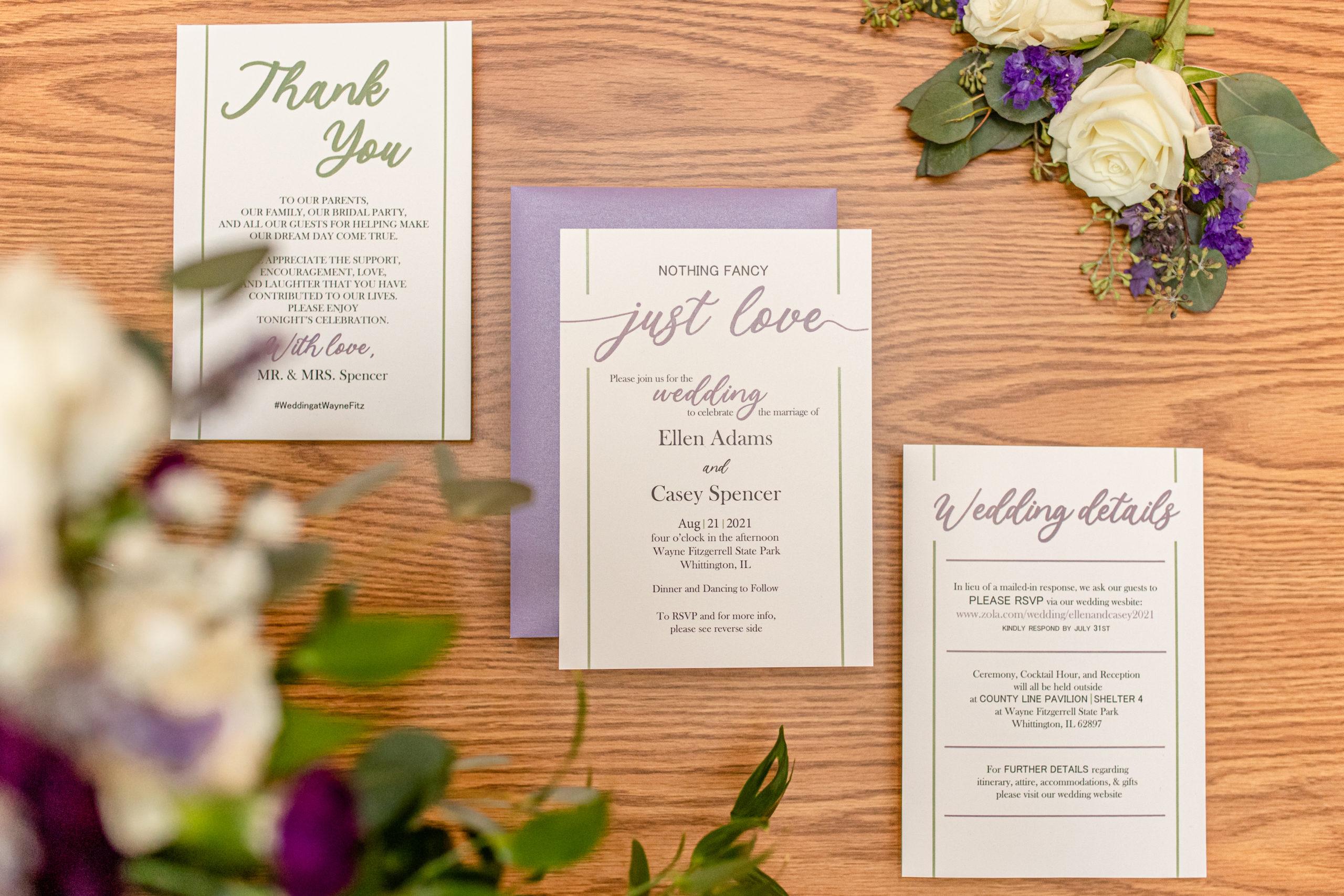 purple wedding accents, purple wedding invitations, summer romance wedding, southern illinois wedding photography