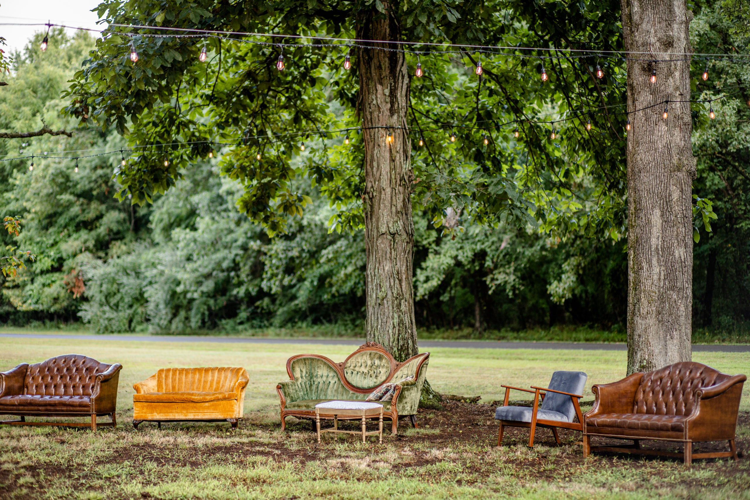 woodland wedding, wedding chairs, unique wedding touches, yellow and blue chairs