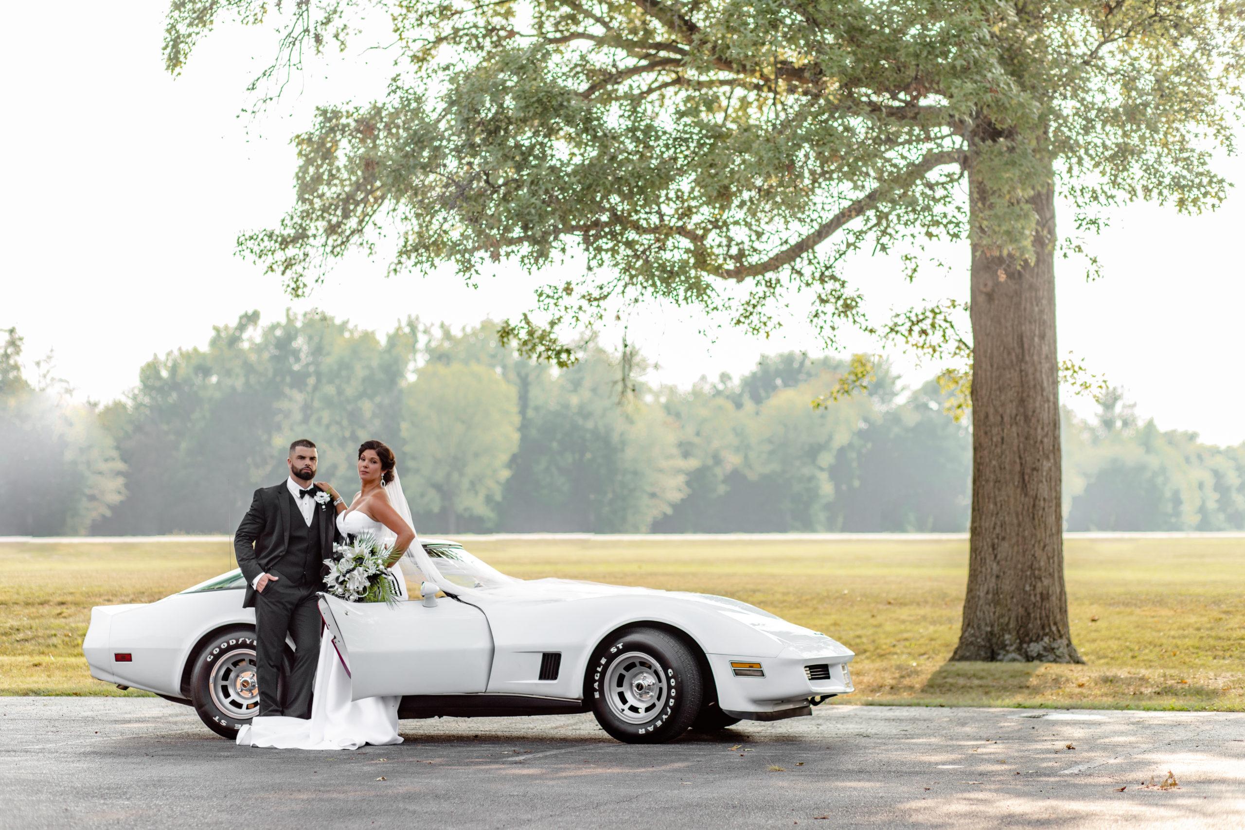 wedding photography, vintage car, corvette, bride and groom, elegant wedding portrait