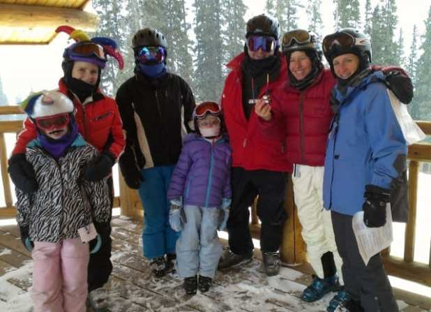 Jewish skiers attending the Adventure Rabbi menorah lighting at Copper Mountain.