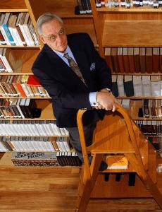 Harry W. Mazal in his San Antonio Library.