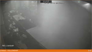 The hall full of smoke and steam from the security cameras.
