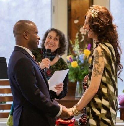 Lynn officiating the wedding