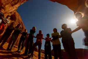 Adventure Bar Mitzvah Class beneath Coronoa Arch