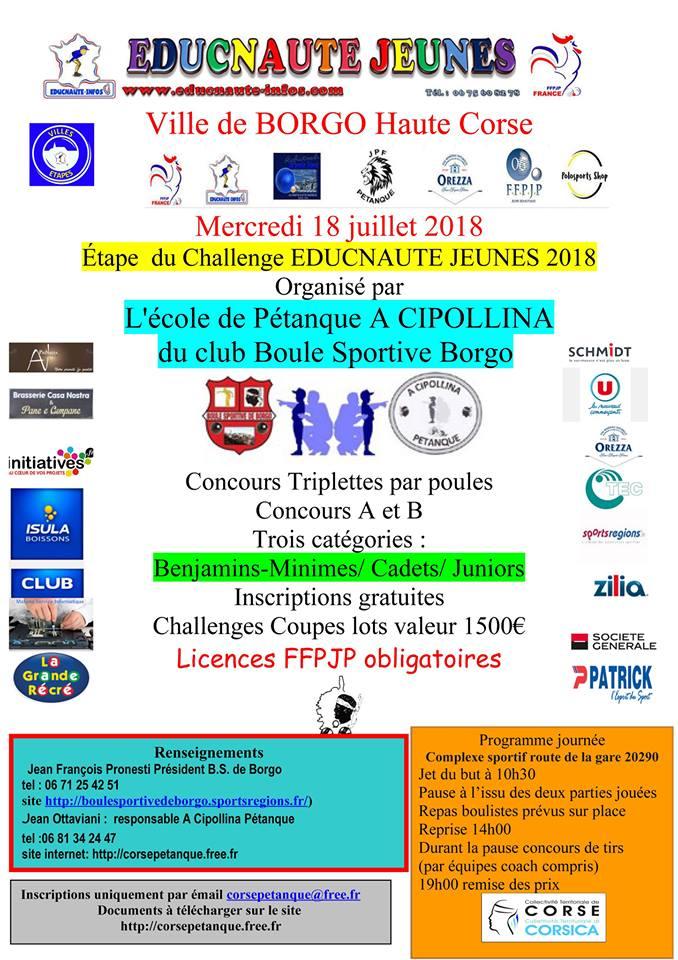 Concours Jeunes organisé par l'école de pétanque de la BOULE SPORTIVE DE BORGO