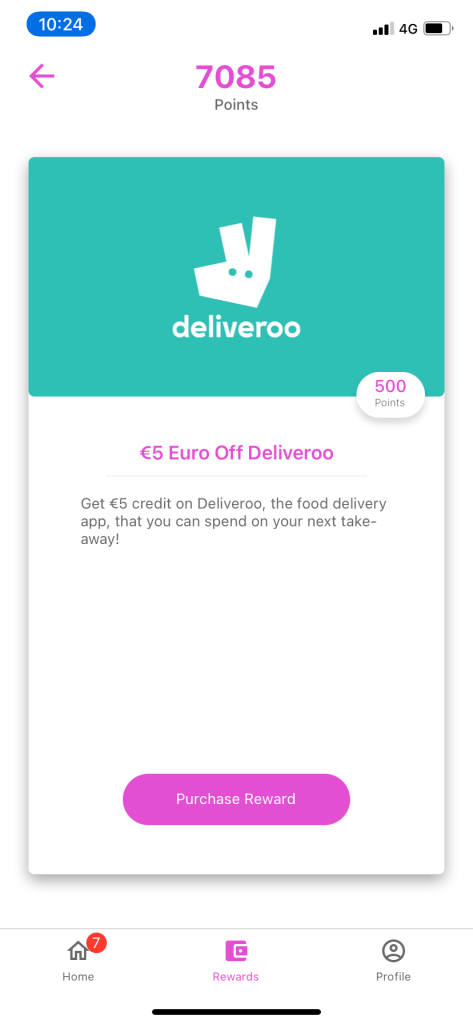 Screenshot of a deliveroo reward available on the Bounce Insight app