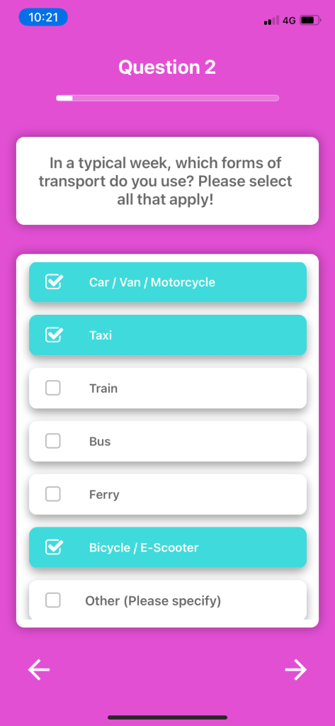 Screenshot of a multiple choice bundle question on the Bounce Insight app