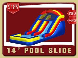 14' Pool Water Slide Rental, Inflatable, Blue, Red, Yellow