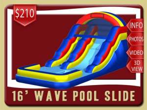 16' Wave Pool Water Slide Rental, Inflatable, Blue, Red, Yellow