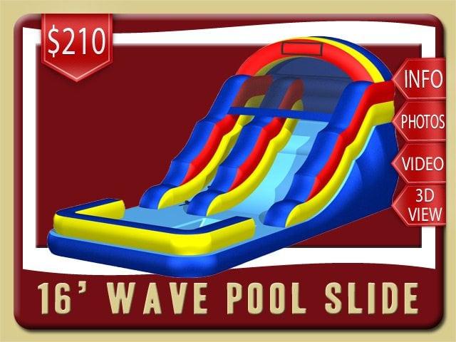 16' Pool Water Slide Rental De Leon Springs Price blue yellow red