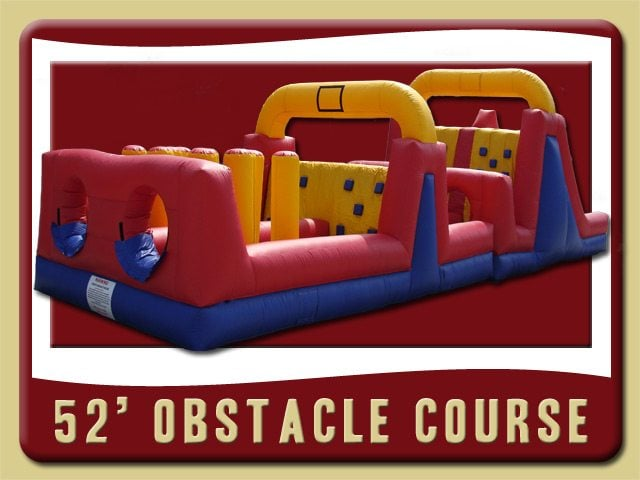52' Obstacle Course Event Inflatable Party Rental Palm Coast yellow red blue