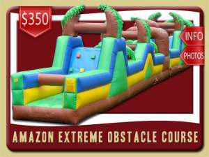 Amazon Extreme Obstacle Course Rentals, Inflatable, Rock Wall, Palm Tree, Brown, Green, Blue