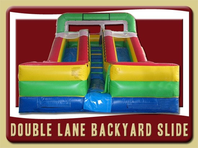 Double Lane Backyard Slide Inflatable Rental Port Orange red green blue yellow