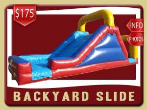 Backyard Water Slide Rental, Inflatable, Red, Blue, Yellow