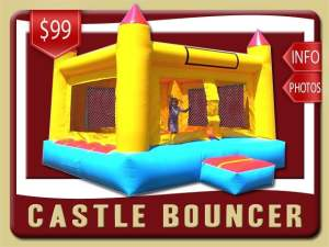 Castle Bounce House Rental, Yellow, Red, Blue