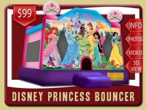 Disney Princess Bounce House Rental, Snow White, Cinderella, Aurora, Ariel, Belle, Jasmine, Tiana
