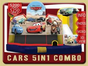 Disney Cars 5in1 Bounce House Water Slide Combo, Lighting McQueen, Mater