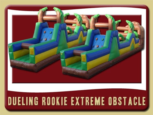 Dueling Rookies 0bstacle Course Inflatable Rental Deland blue brown