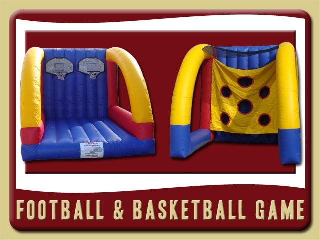 Football & Basketball Football Basketball Inflatable Bounce House Game Party Rental Orange City blue yellow and red