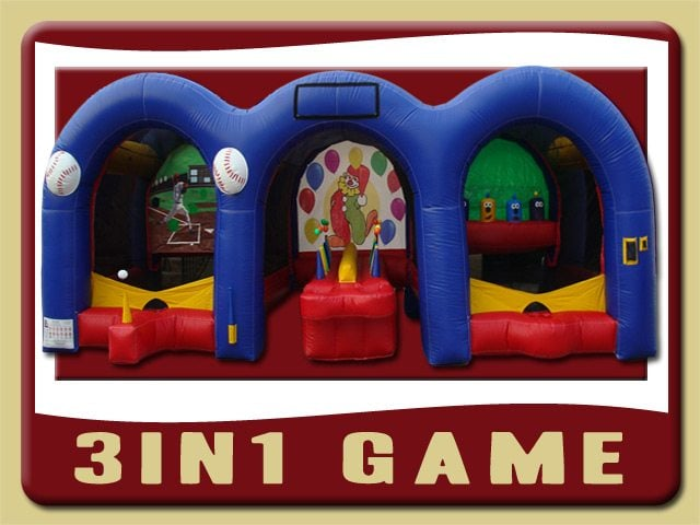 3in1 Game Inflatable Baseball, hot potato & Shooting