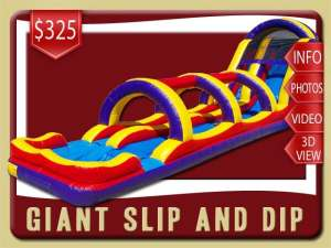 Giant Slip Water Slide Rental, Inflatable, Pool, Blue, Red, Yellow