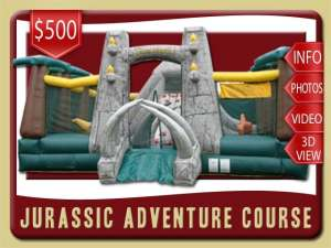 Jurassic Adventure Inflatable Obstacle Course Play Land, Dinosaur, Bounce House, Slide, Rock Wall